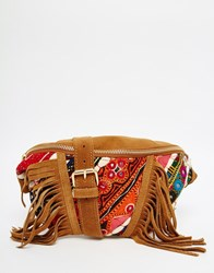 Park Lane Festival Suede Bum Bag With Hand Embroidery Tan