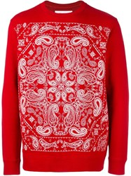 White Mountaineering Paisley Print Sweatshirt Red
