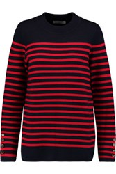 Sandro Smila Striped Knitted Sweater Red