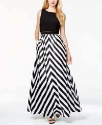 Betsy And Adam Chevron Stripe Mesh Popover Gown