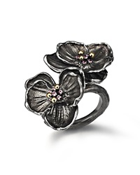 Michael Aram Black Rhodium Plated Sterling Silver Double Orchid Ring With Pink Sapphires Pink Silver