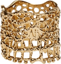 Aurelie Bidermann Gold Laser Cut Vintage Lace Ring