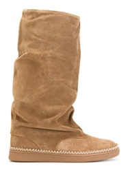 Sartore Slouchy Mid Calf Length Boots Brown