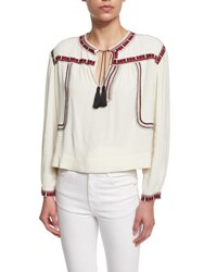 Etoile Isabel Marant Cabella Embroidered Crop Top Ivory