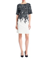 Adrianna Papell Elbow Sleeve Floral Print Sheath Dress Black Ivory