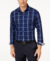 Tasso Elba Men's Big And Tall Plaid Long Sleeve Shirt Classic Fit Sapphire Combo