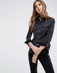 Asos Denim Fitted Western Shirt In Washed Black Washed Black