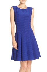 Gabby Skye Women's Pintuck Fit And Flare Dress Lapis