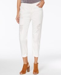 Armani Exchange Ripped Cuffed Boyfriend Jeans White