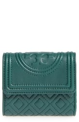 Tory Burch Women's 'Mini Fleming' Quilted Lambskin Leather Wallet Green Norwood