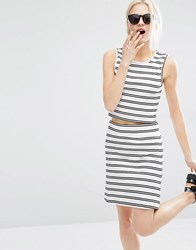 Weekday Stripe Co Ord Top With Back Detail Striped Black White Multi