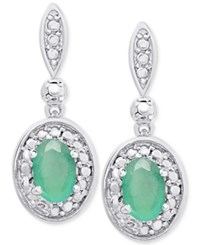 Victoria Townsend Emerald Drop Earrings 9 10 Ct. T.W. In Sterling Silver