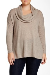 Susina Long Sleeve Side Slit Cowl Neck Cashmere Sweater Plus Size Brown