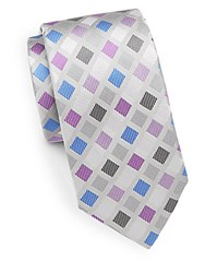 Bugatchi Diamond Silk Tie Platinum