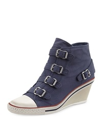 Ash Genialbis Buckled Wedge Sneaker Navy