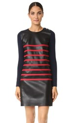 Cedric Charlier Stripe Leather Dress Black Red
