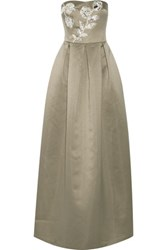 Raoul Forget Me Not Embellished Silk Blend Satin Gown Gray Green