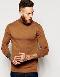 Asos Turtleneck Jumper In Merino Wool Mix Lightbrown