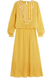 Red Valentino Redvalentino Ruffle Trimmed Silk Georgette Dress Marigold
