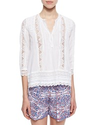 Rebecca Taylor Lace Eyelet Voile Top Blue