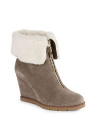 Kate Spade Stasia Faux Fur Lined Wedge Ankle Boots Taupe