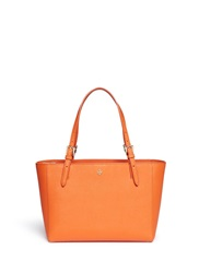 Tory Burch 'York' Small Leather Buckle Tote Orange