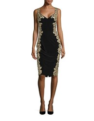 Betsy And Adam Metallic Embroidered Cocktail Dress Black Gold