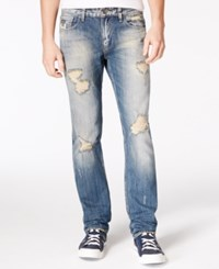 Guess Men's Slim Straight Fit Destroyed Sky High Wash Jeans