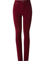Amapa High Waist Velvet Skinny Trousers Red