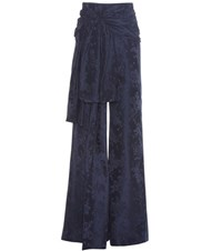 Rosie Assoulin High Waisted Sash Wide Leg Jacquard Trousers Blue