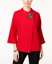 Jm Collection Petite Embellished Asymmetrical Wool Cardigan Only At Macy's New Red Amore