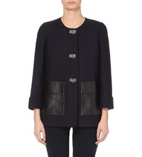 Claudie Pierlot Genius Leather Trim Coat Navy