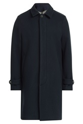 Closed Coat With Wool Blue