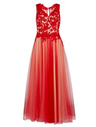 Gina Bacconi Lace And Mesh Maxi Dress Red