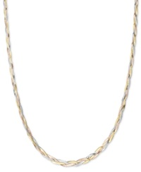 Macy's 14K Gold Necklace Tri Tone Braided Herringbone Chain Necklace