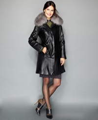 The Fur Vault Fox Fur Collar And Rabbit Fur Lined Leather Walker Coat Black Indigo