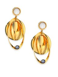 Lizzie Fortunato Tortola 6Mm Peacock Pearl And Mother Of Pearl Cabochon Voyage Drop Earrings Gold Multi