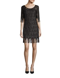 Jessica Simpson Open Knit Fringed Metallic Sheath Dress Black