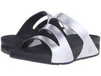 Fitflop Superjelly Twist Metallic Silver Mirror Women's Sandals