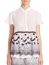 Giamba Butterfly Applique And Lace Detail Blouse White Black Optical White