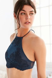 Out From Under Madison Applique High Neck Bra Blue