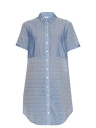 Frame Denim Short Sleeved Cotton Shirtdress Blue
