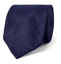 Drakes 8Cm Wool And Cashmere Blend Tie Blue