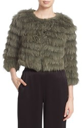 Alice Olivia Women's 'Fawn' Genuine Rabbit And Fox Fur Jacket