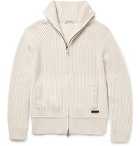 Burberry Ribbed Wool And Cashmere Blend Cardigan White