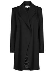 Reiss Caspian Drape Front Coat Black