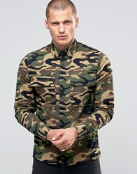 Religion Military Shirt In Camo Print Camo Print Green