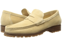 A. Testoni Unlined Suede Penny Loafer W Lug Sole