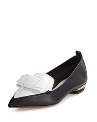 Nicholas Kirkwood Beya Bow Pointed Toe Loafer Black White