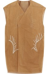 Rick Owens Embroidered Mesh Gilet Brown